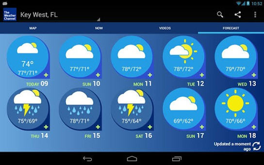 weather channel android tablet optimized